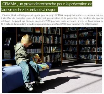 GEMMA , un projet de recherche pour la prévention de l'autisme chez les enfants à risque